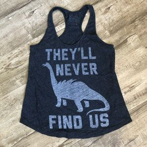 But Me Brunch Gray They'll Never Find Us Dino Tank